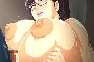 【エロアニメ】メガネの爆乳人妻が団地の玄関先で浮気男とセクロスしちゃってお漏らしまでしちゃってる